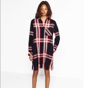 Zara Basics Plaid Button Front Shirt Dress